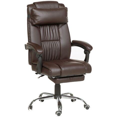 Chaise de bureau en simili-cuir marron LUXURY