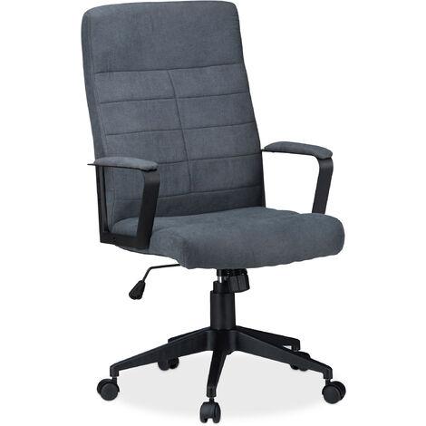 Chaise de bureau ergonomique fauteuil pivotant hauteur réglable confortable 120kg HxlxP: 116 x 62 x 62cm, gris