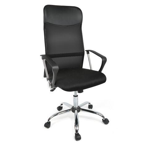 """main image of """"Chaise de Bureau Fauteuil de bureau en Maille Transpirant, Accoudoirs et Dossier Moyen-Hauteur Réglables (Noir)"""""""