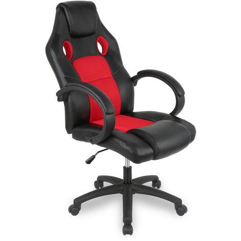 Chaise de bureau, Fauteuil de bureau RACING SPORT Noir / Rouge Rembourrage Épais - Hauteur Réglable - Pivotante