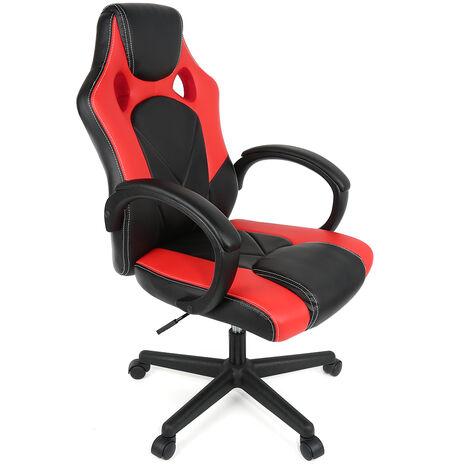 """main image of """"Chaise De Bureau Fauteuil Racing Gaming Confortable Ergonomique De Bureau en Similicuir Siège Sport Pivotant Ordinateur, Rouge Noir"""""""