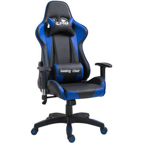 """main image of """"Chaise de bureau GAMING fauteuil ergonomique avec coussins, siège style racing racer gamer chair, revêtement synthétique noir/bleu"""""""