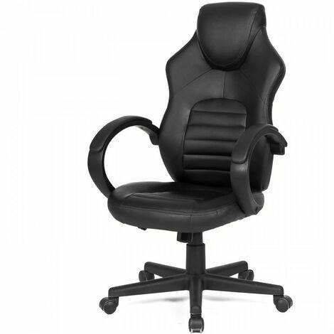 """main image of """"Chaise de bureau gaming - Simili noir - L 58 x P 70 x H 98-116 cm - ARK"""""""