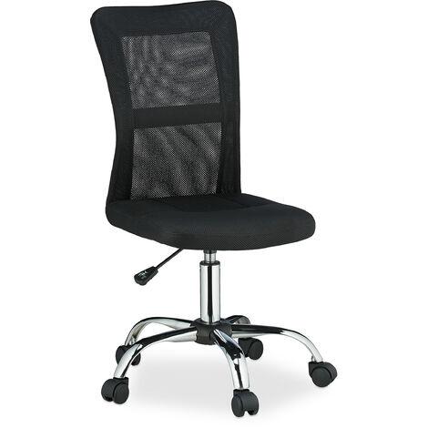 """main image of """"Chaise de bureau, hauteur réglable, fauteuil ergonomique, roulettes, dossier en maille filet, 90 kg, noir"""""""