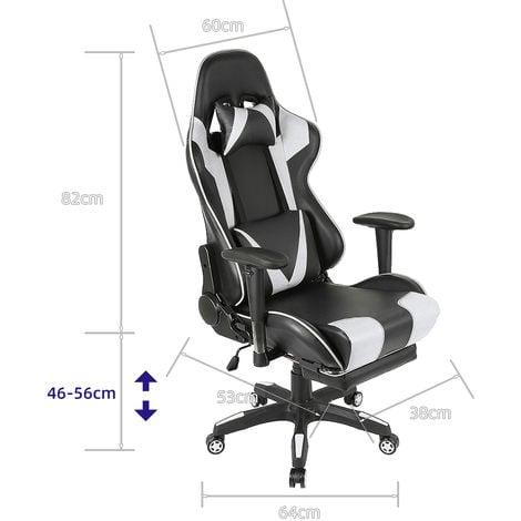 Chaise de Bureau Inclinable a 180° Ergonomique Noir et Blanc