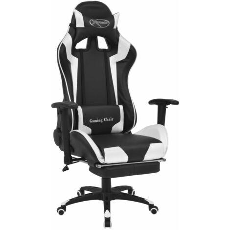 Chaise de bureau inclinable avec repose-pied Blanc