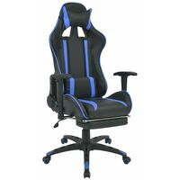 Chaise de bureau inclinable avec repose-pied Bleu