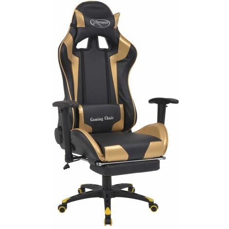 Chaise de bureau inclinable avec repose-pied Doré