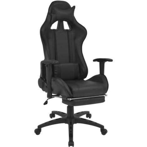 Chaise De Bureau Inclinable Avec Repose-Pied Noir