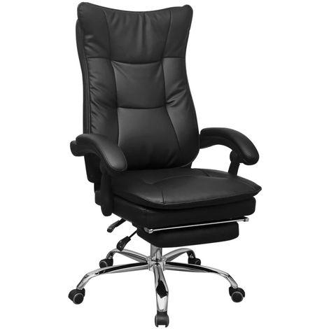 Chaise de bureau inclinable avec repose-pieds Noir