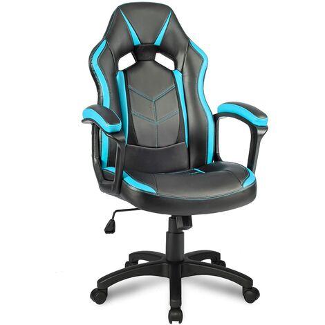 Chaise de bureau inclinable et réglable, Chaise ergonomique en Cuir,Bleu