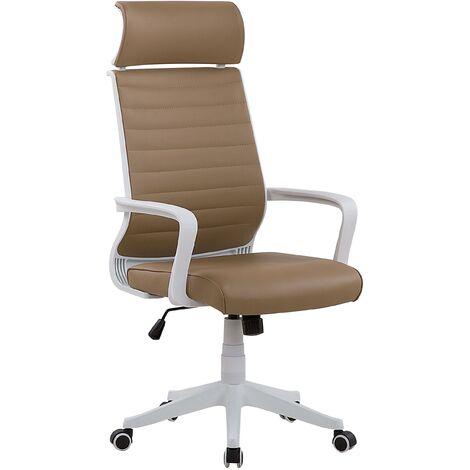 Chaise de bureau marron et blanc LEADER