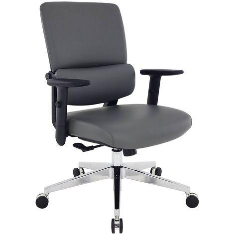 Chaise de bureau Parity - habillage cuir, gris