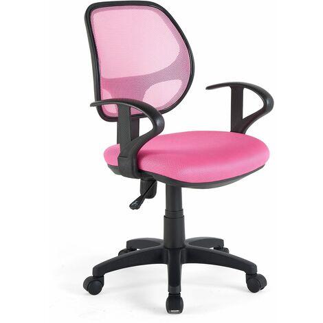 """main image of """"Chaise de bureau pour enfant COOL fauteuil pivotant et ergonomique avec accoudoirs, siège à roulettes et hauteur réglable, mesh rose"""""""