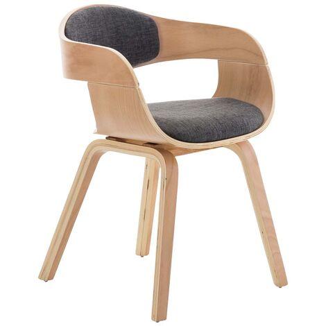"""main image of """"Chaise de bureau sans roulettes visiteur en tissu et bois design retro et confort maximal naturel et gris clair - or"""""""