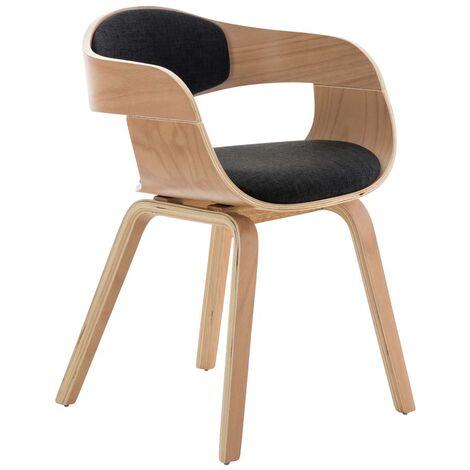 """main image of """"Chaise de bureau sans roulettes visiteur en tissu et bois design retro et confort maximal naturel et gris foncé - or"""""""