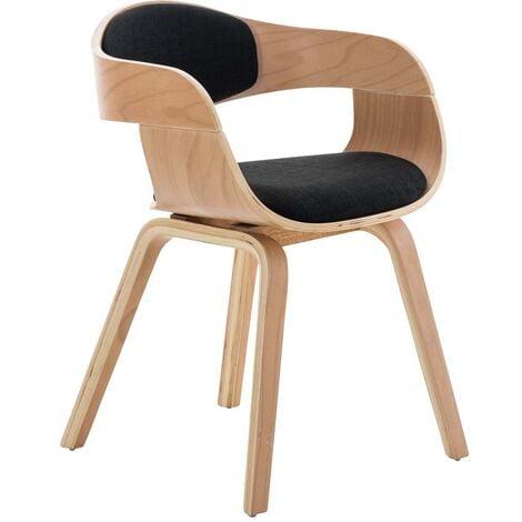 """main image of """"Chaise de bureau sans roulettes visiteur en tissu et bois design retro et confort maximal naturel et noir - noir"""""""