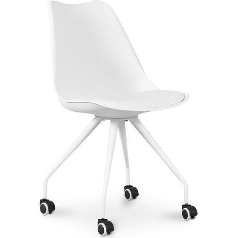 Chaise de bureau scandinave a roulettes - Canva Blanc