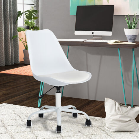 Chaise De Bureau Scandinave Blanc Plastique Métal