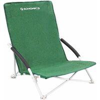 Chaise de Camping Chaise de Plage Fauteuil Pliable de Jardin, 61 x 53.5 x 65cm, Charge 150kg, Bleu ciel/Vert