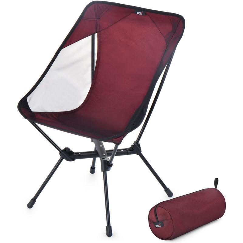 Chaise De Camping Chaise Pliante Portable Chaise De Randonnee Avec Sac De Rangement Pour Randonnee Exterieure Barbecue Voyage Pique-Nique, Rouge