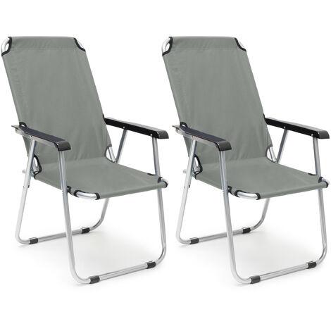 Chaise de camping, jeu de 2, pliable, pour balcon avec accoudoirs, dossier haut de jardin 91x53,5x75cm, anthra