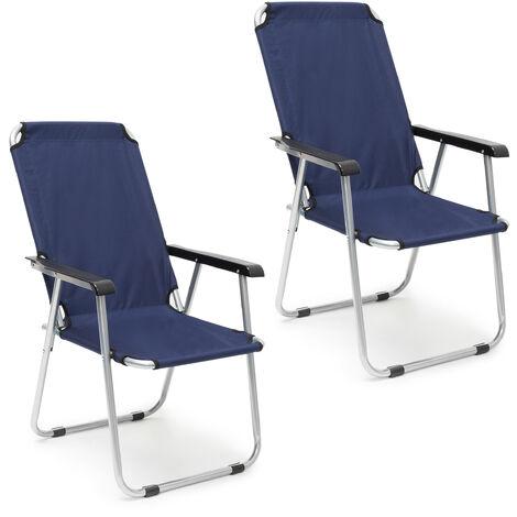 Chaise de camping, jeu de 2, pliable, pour balcon avec accoudoirs, dossier haut de jardin 91x53,5x75cm,bleu