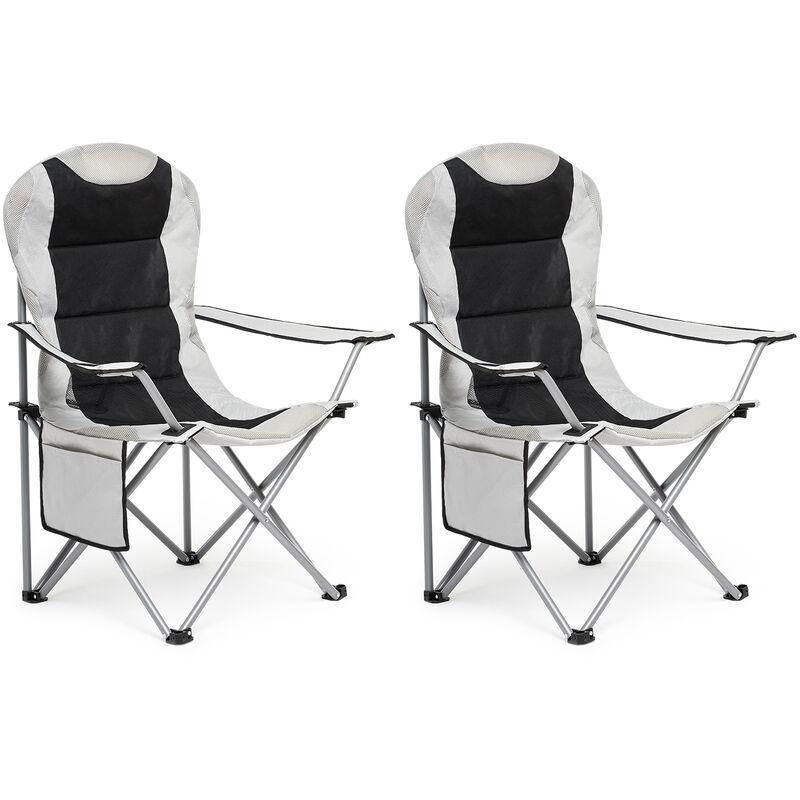 Chaise de Camping Pliable avec Porte-Gobelet et Poche de Côté , Portable pour Plage, Voyage, Pêche, Barbecue, Gris Claire,Lot de 2