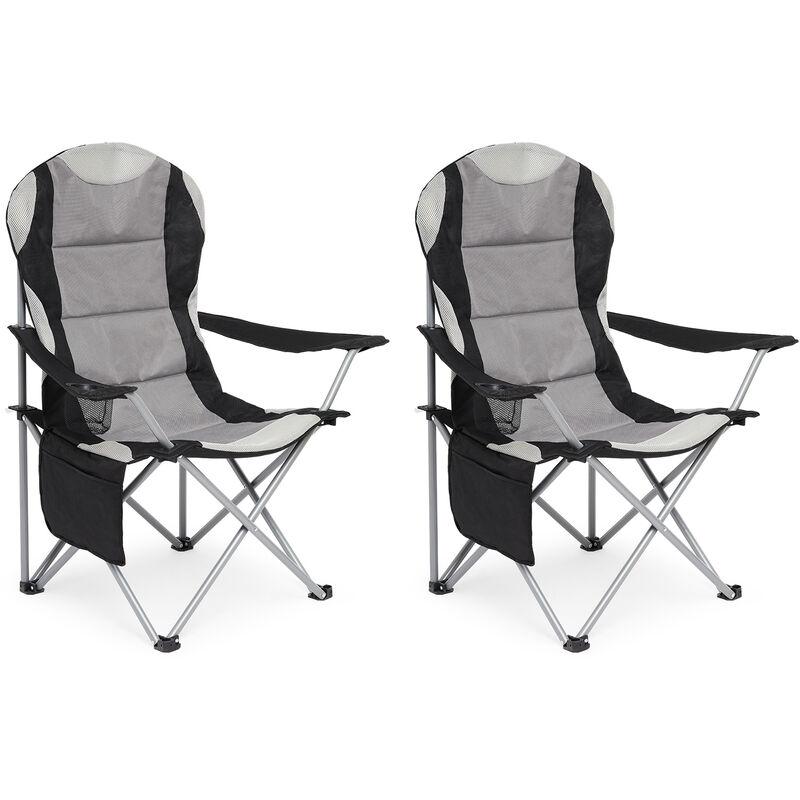Chaise de Camping Pliable avec Porte-Gobelet et Poche de Côté , Portable pour Plage, Voyage, Pêche, Barbecue, Gris Foncé,Lot de 2