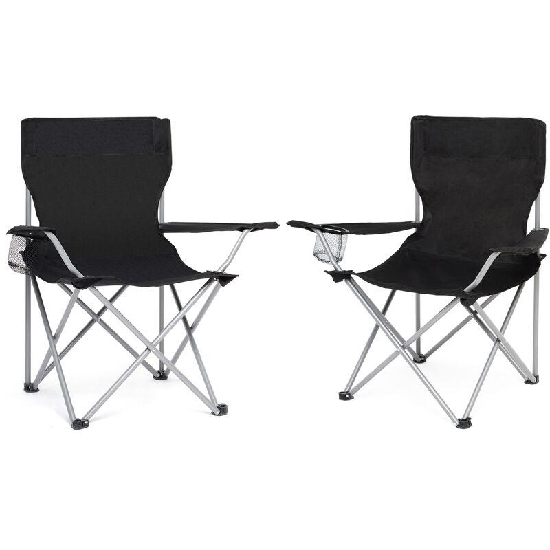 Chaise de Camping Pliable avec Porte-Gobelet , Portable, Extérieure pour Plage, Voyage, Pêche, Barbecue, Noir, Lot de 2