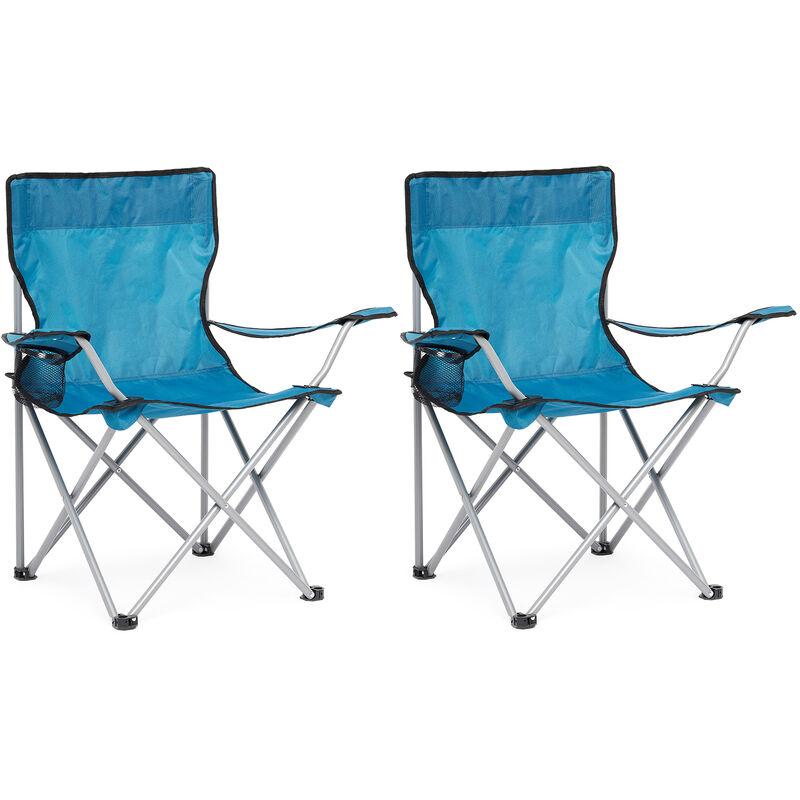 Chaise de Camping Pliable avec Porte-Gobelet , Portable,Extérieure pour Plage, Voyage, Pêche, Barbecue, Bleu, Lot de 2