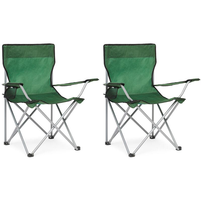 Chaise de Camping Pliable avec Porte-Gobelet , Portable,Extérieure pour Plage, Voyage, Pêche, Barbecue, Vert, Lot de 2