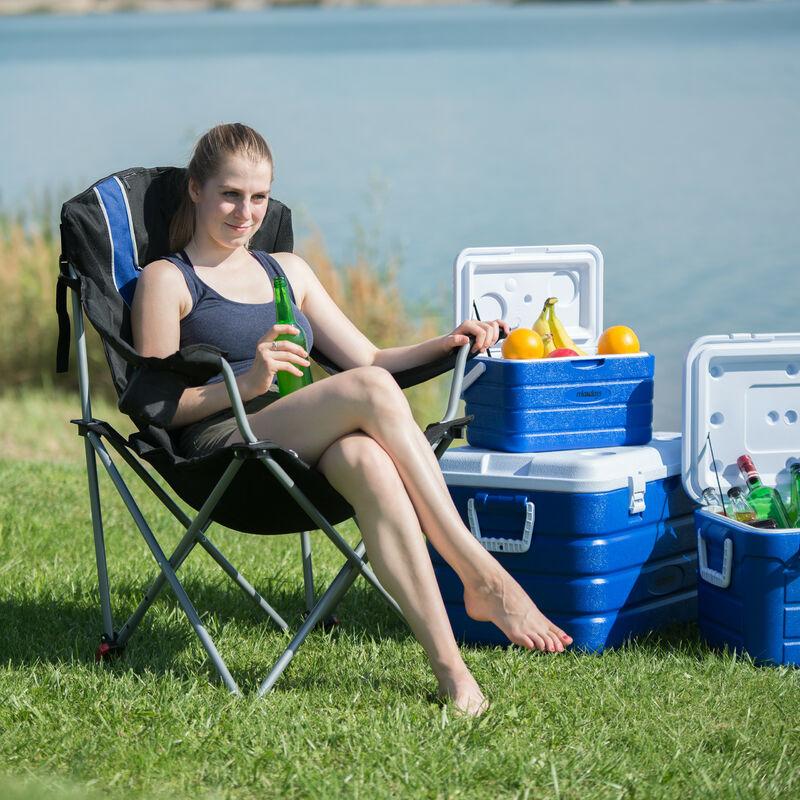 Chaise de camping pliable fauteuil de pêche rembourré avec porte boissons dossier réglable HxlxP: 108 x 90 x 72 cm, bleu noir