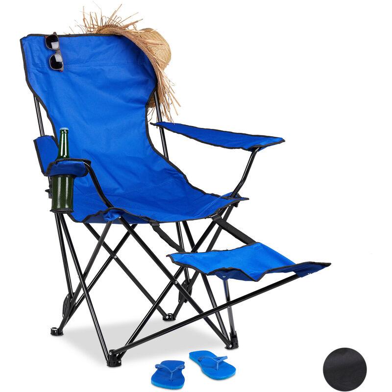 Chaise de camping pliante repose pieds porte boissons 120 kg fauteuil pliable pêche, bleu