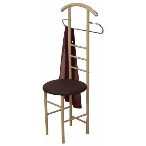 Chaise de chambre / valet de nuit portant en acier beige et similicuir marron - Beige