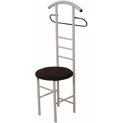 Chaise de chambre / valet de nuit portant en acier blanc et similicuir noir - noir