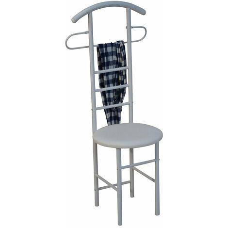 Chaise de chambre / valet de nuit portant en acier et MDF blanc - or
