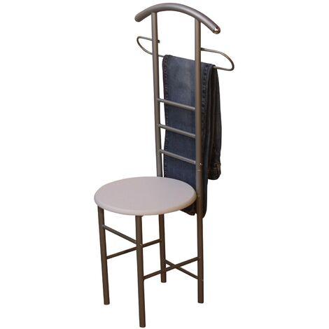 Chaise de chambre / valet de nuit portant en acier et MDF couleur blanc - or