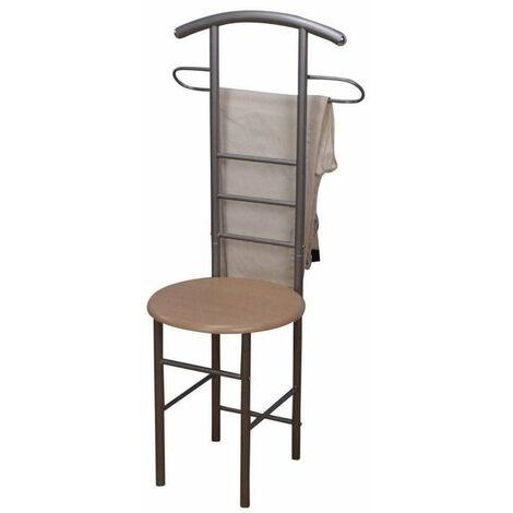 Chaise de chambre / valet de nuit portant en acier et MDF couleur hêtre - or