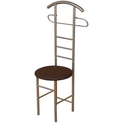 Chaise de chambre / valet de nuit portant en acier et similicuir marron - marron