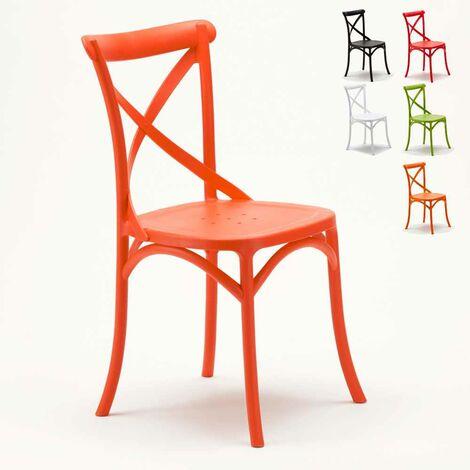 Chaise de cuisine restaurant en polypropylène VINTAGE Paysan Cross design
