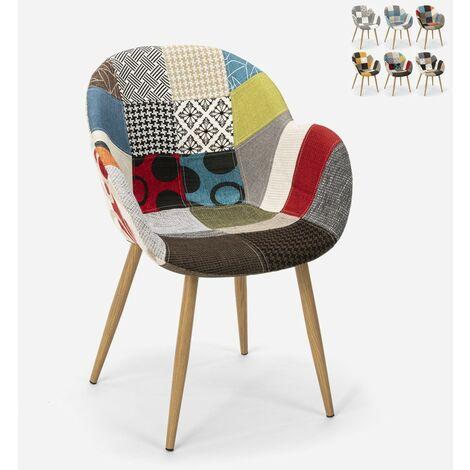 Chaise de cuisine salon design nordique patchwork Finch