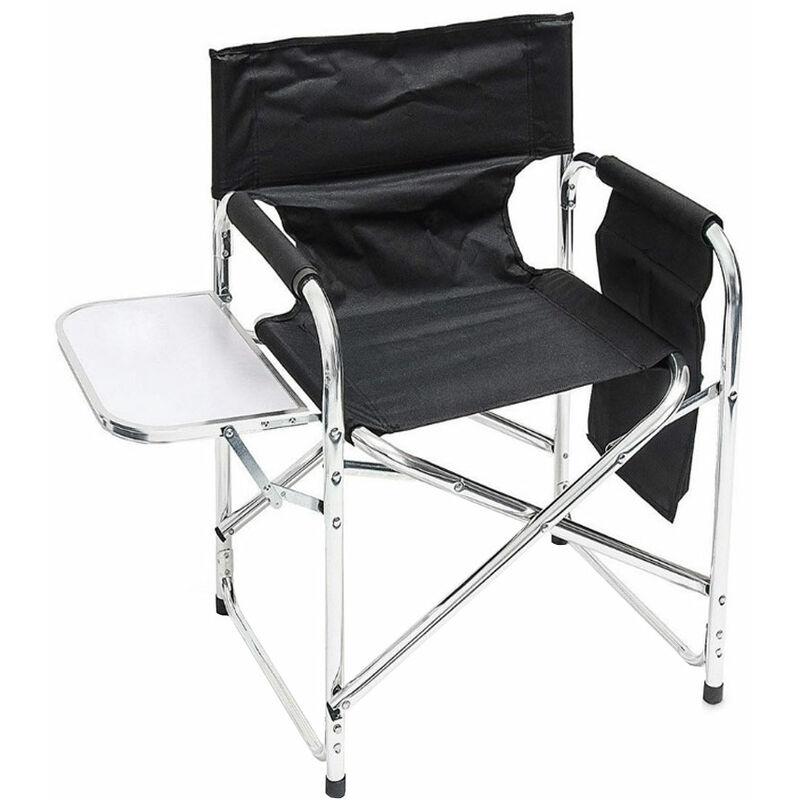 Chaise de directeur Chaise de jardin Chaise pliante de jardin Table pliante noire, poche latérale de camping en aluminium, LxHxP 65x65x55 cm