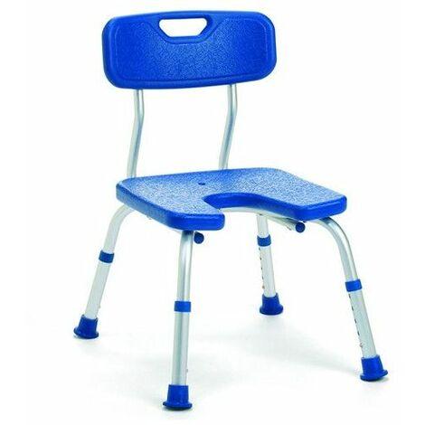 Chaise de douche avec découpe Melbourne bleu - 34 à 44 cm - Bleu