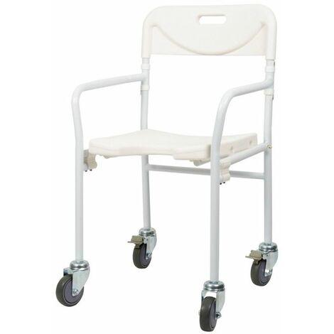 Chaise de douche pliable à roulettes - 50 cm - Blanc