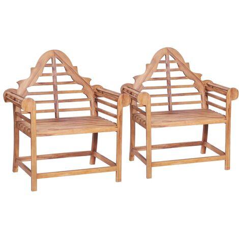 Chaise de jardin 2 pcs 91x62x102 cm Teck solide