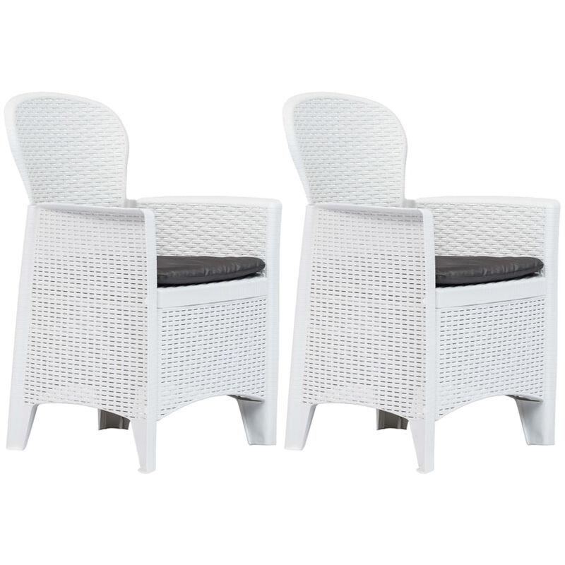 Asupermall - Chaise de jardin 2 pcs et coussin Blanc Plastique Aspect rotin