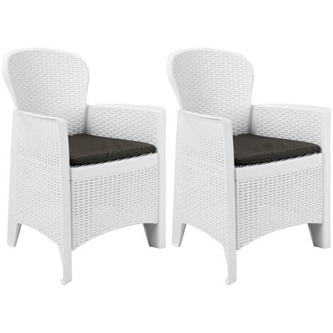 Chaise de jardin 2 pcs et coussin Blanc Plastique Aspect rotin