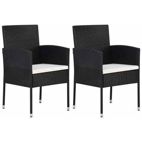 Chaise de jardin 2 pcs Résine tressée Noir