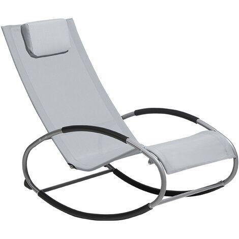 Chaise de jardin à bascule grise CAMPO